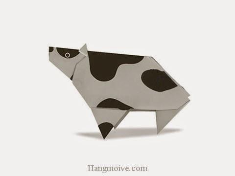 Cách gấp, xếp con bò sữa bằng giấy origami - Video hướng dẫn xếp hình - How to make a Cow