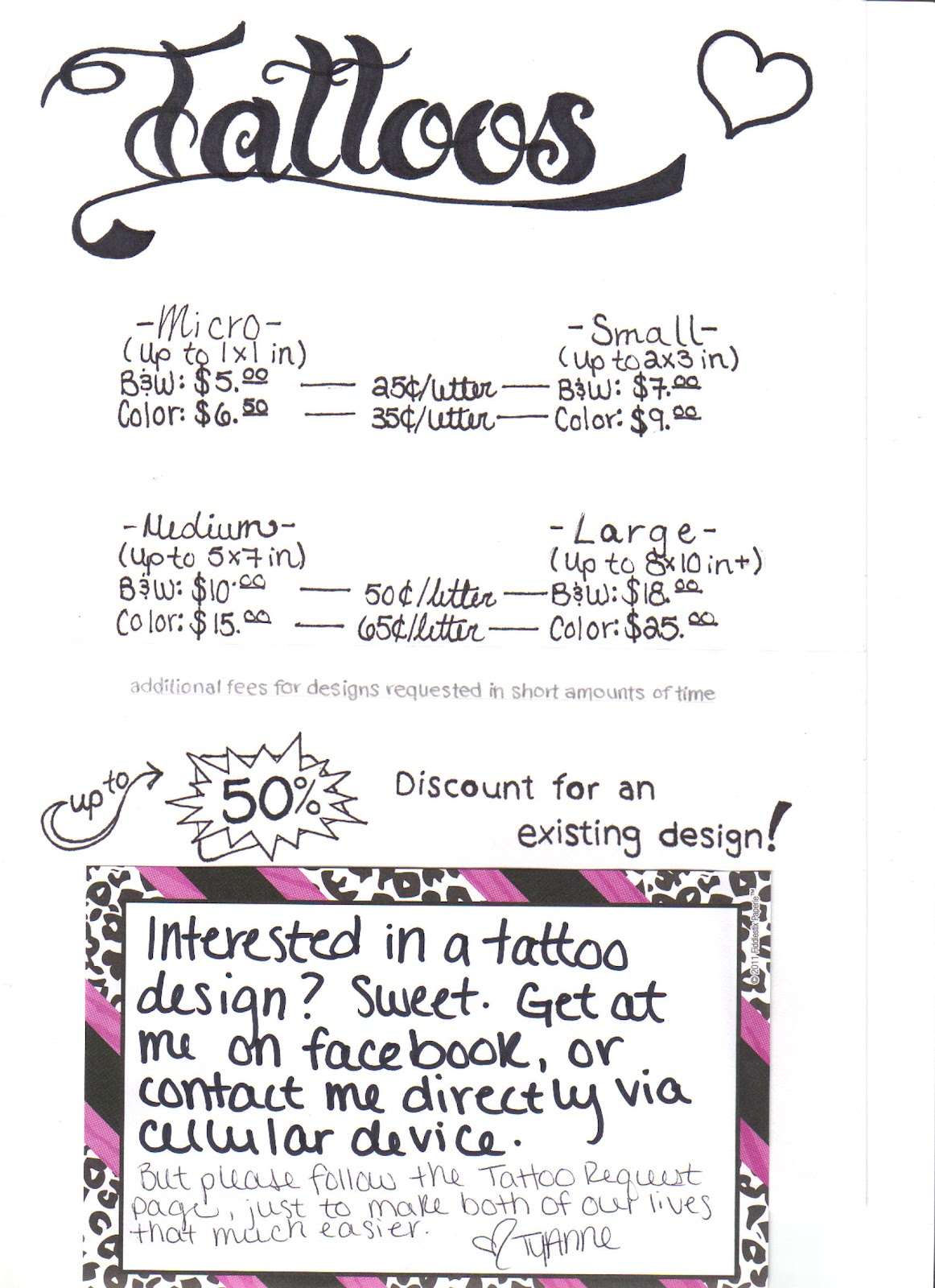 Tattoo Prices Chart