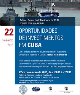 Seminários no RS, SP e RJ: Oportunidades de Investimentos em Cuba