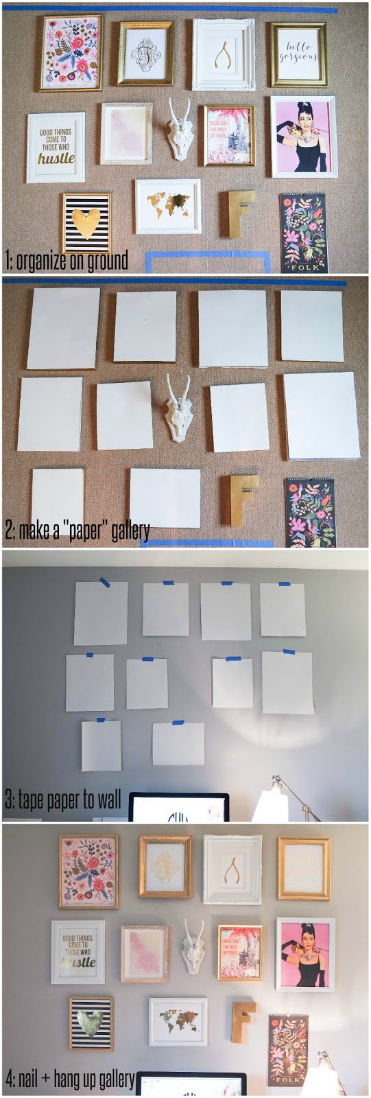 how to hang up a gallery wall
