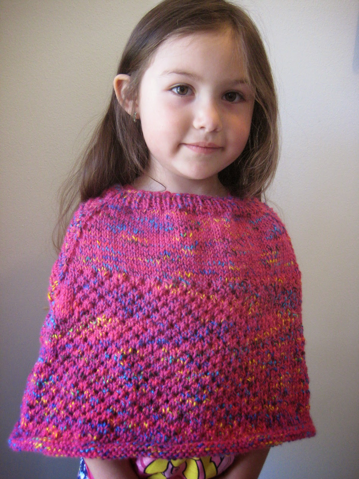 Balls to the Walls Knits: Cellular Stitch Kids Poncho