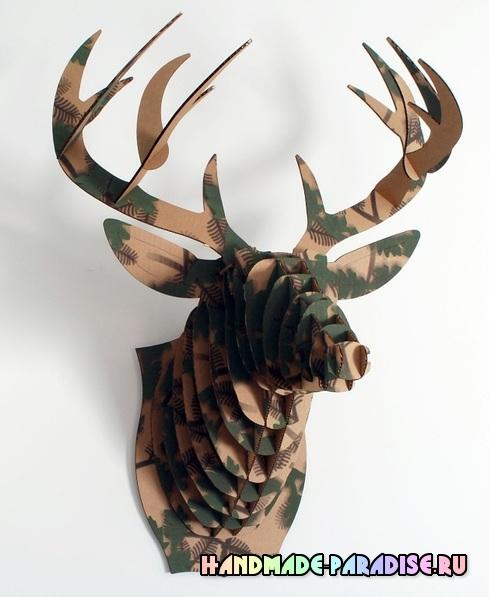 Голова оленя из картона