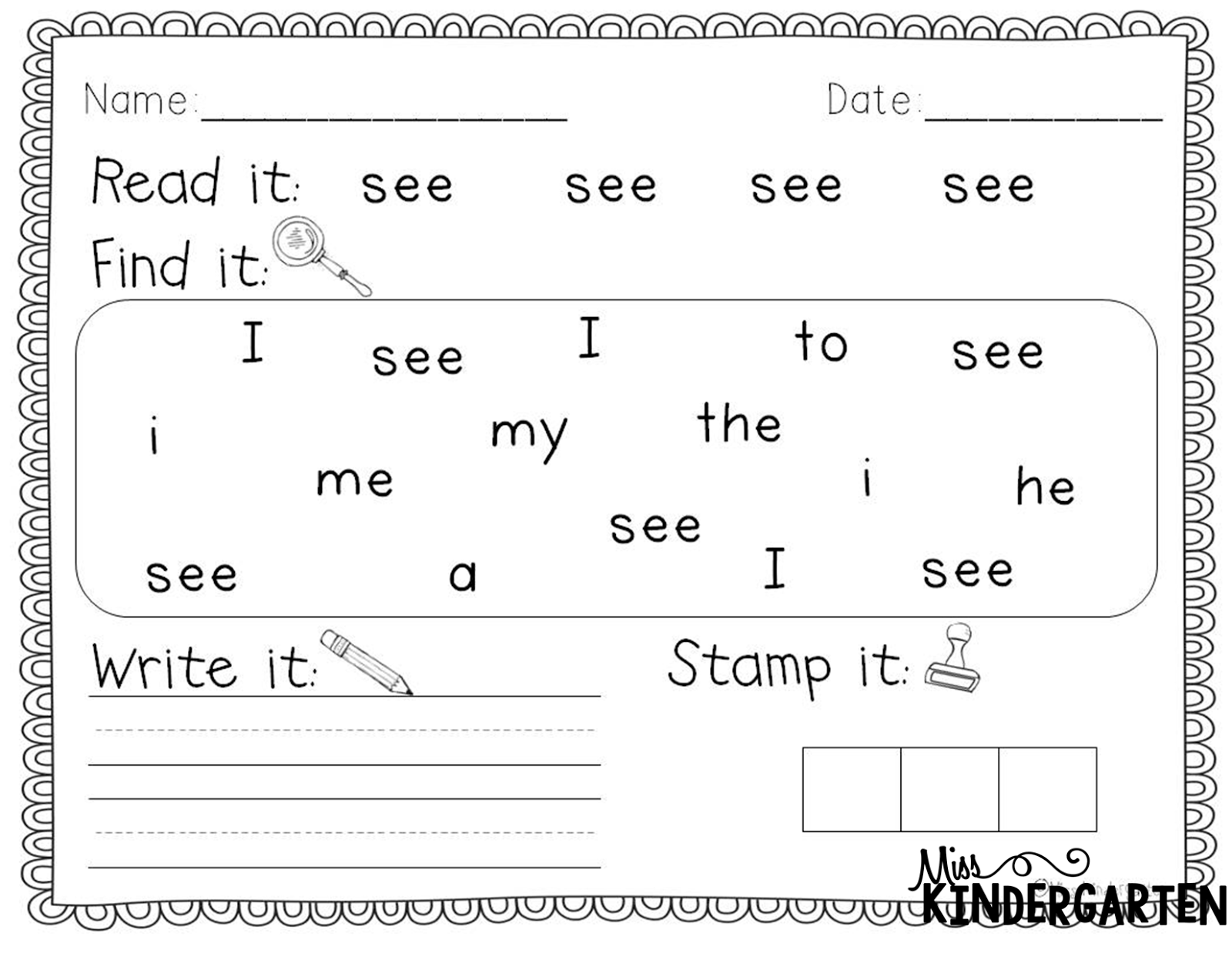 Worksheet Kindergarten Sight Word sight word practice miss kindergarten httpwww teacherspayteachers comproductsight word