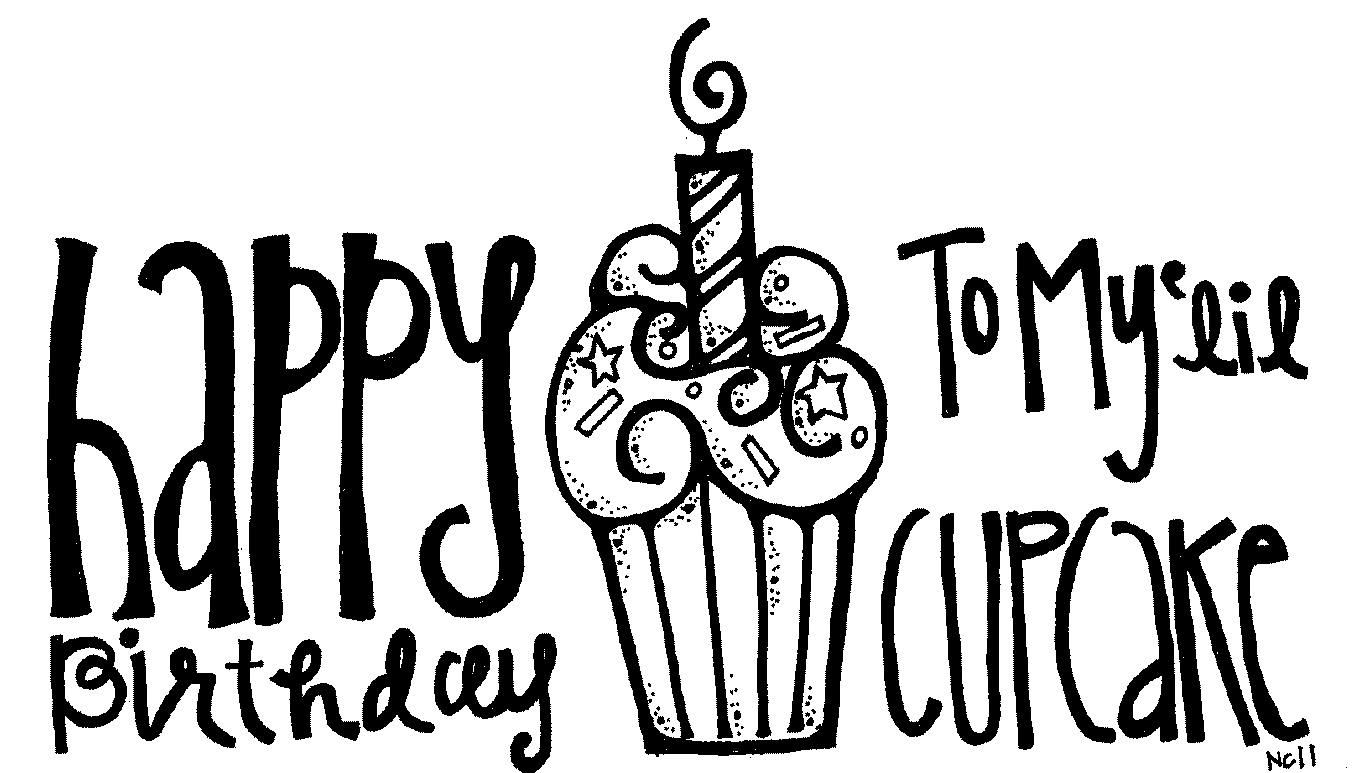 Birthday Cupcake With Candle Clip Art Black And White