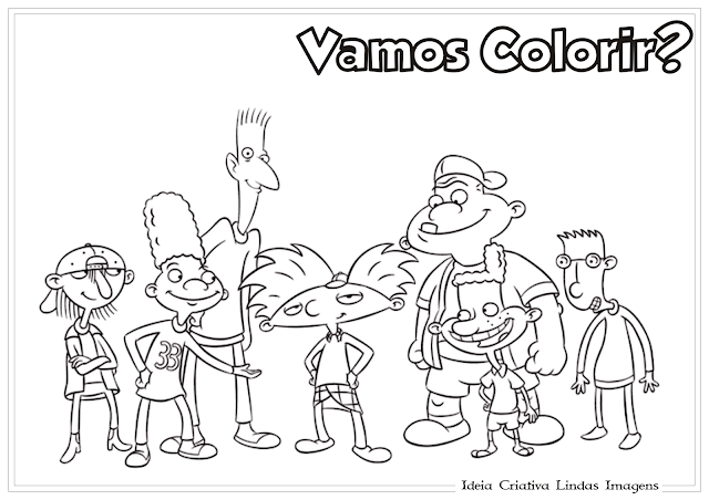 Hey Arnold! Turma desenho pra colorir