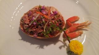 白金高輪の出張シェフ:金沢直送 香箱蟹と青菜の甘酢和え