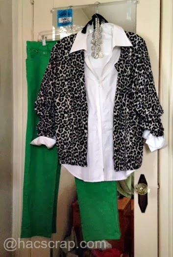 Green Jeans, White shird, Leopard Cardi