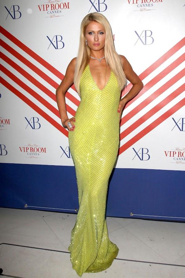 Paris Hilton looks gorgeous in a floor-length frock
