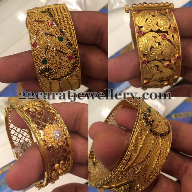 Broad and Thin Gold Bangle Sets
