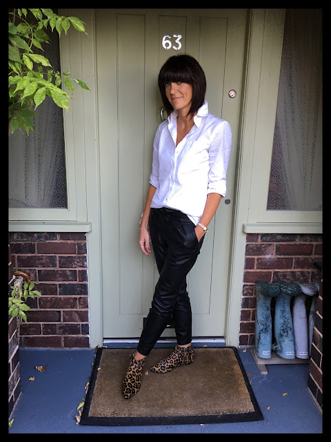 My Midlife Fashion, Zara, Massimo Dutti, Faux leather trousers, leopard print, animal print, Boden Joni Boots