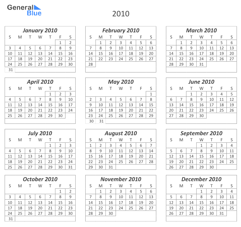 All Templates: 12 Month Calendar Template