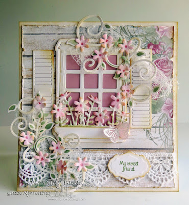 Our Daily Bread Designs Stamp sets: Home Sweet Home , ODBD Custom Dies: Welcoming Window, Butterfly and Bugs, Window Shutter and Awning, Flower Box Fillers, Antique Labels and Border,  Fancy Foliage Die, Butterfly and Bugs, Our Daily Bread Designs Shabby Rose Paper Collection