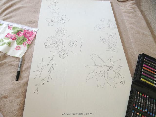 DIY Floral Wall Art with Nailhead Trim | LiveLoveDIY