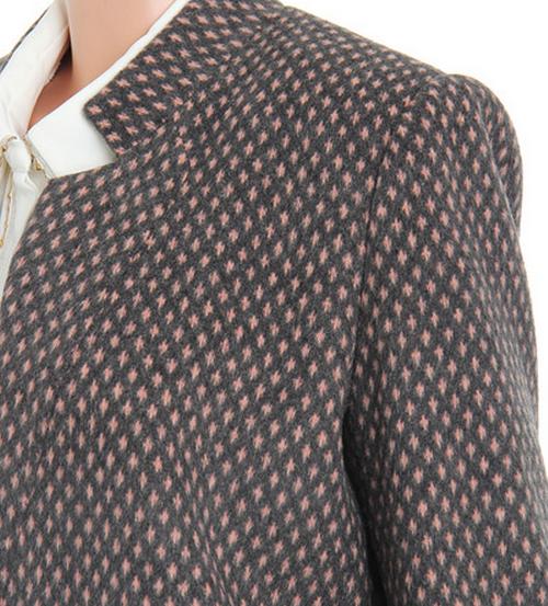 [Galleria] Pink Dotted Round Neck Coat