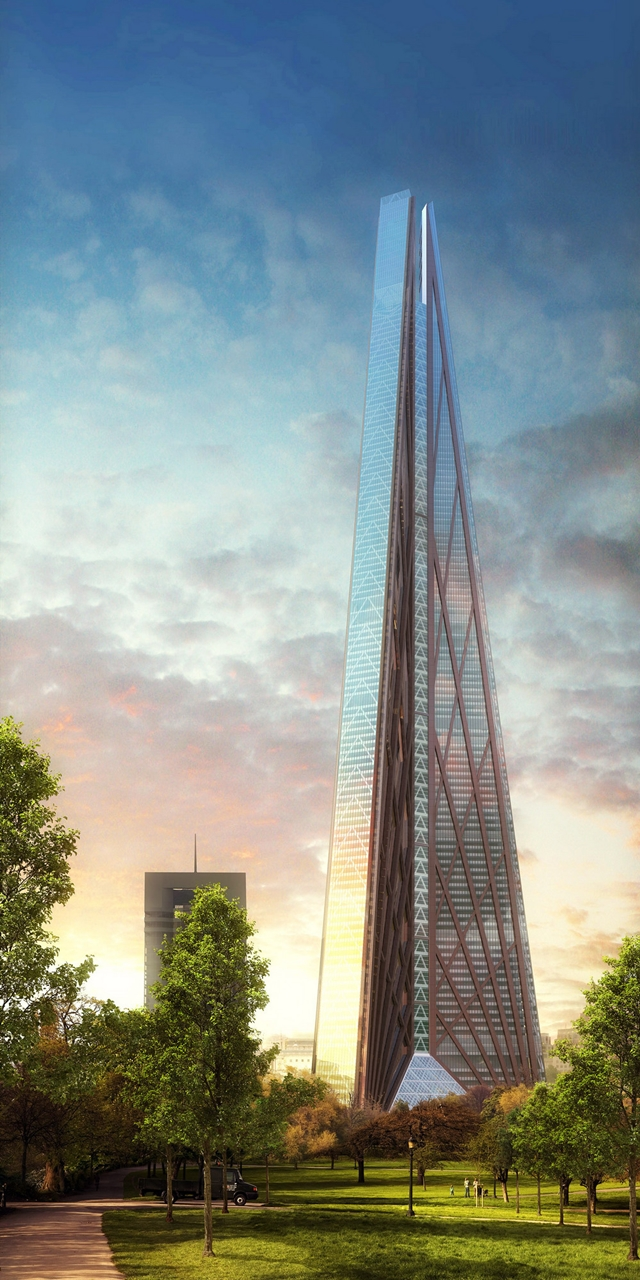 Rendering of Russia Tower as seen from the park