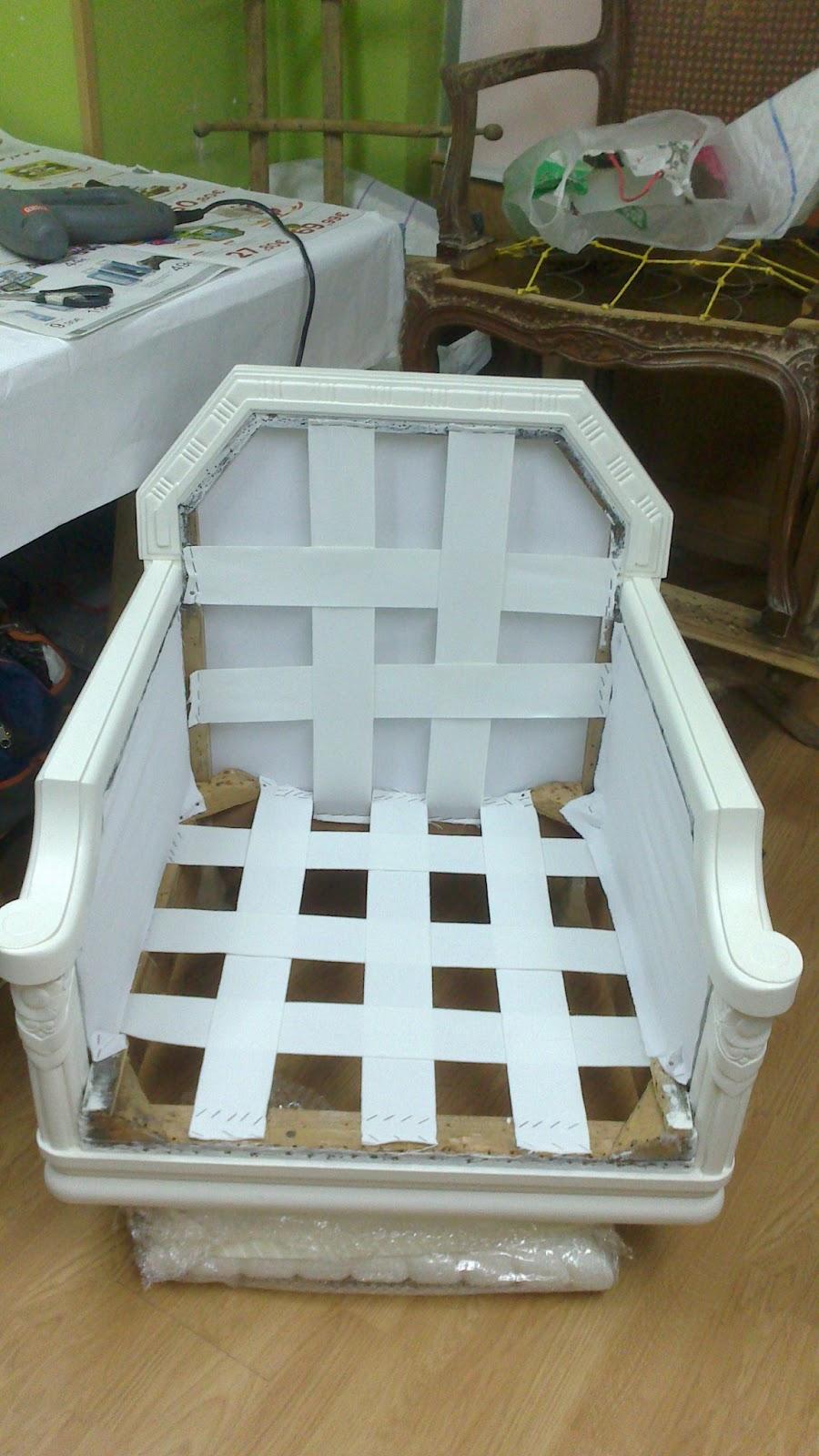 El blog de la restauradora tapizado de un sill n - Como tapizar una descalzadora ...