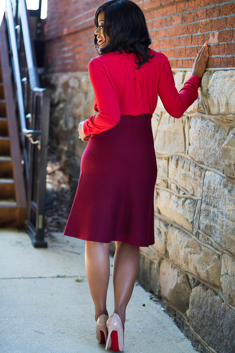 What to wear to work for fall, red and burgundy mix, long coat