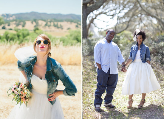 alternative alla stola per la sposa, bride with denim jacket