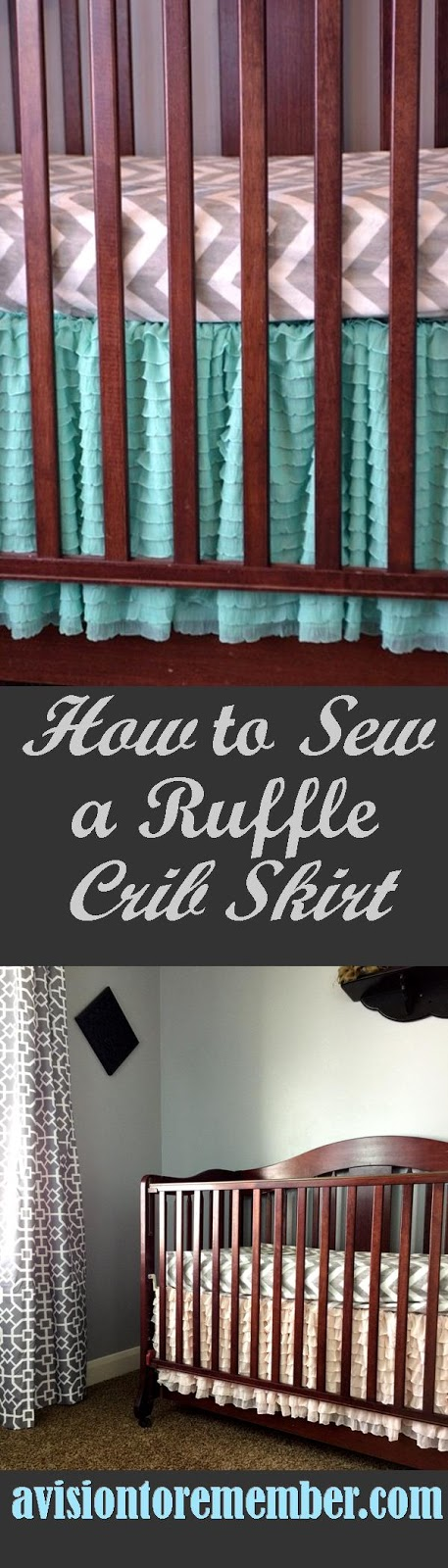 How to sew a Ruffle Crib Skirt, Pink and Cream