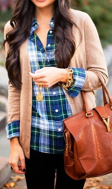 comfy cardigan and plaid shirt style fashion fashion