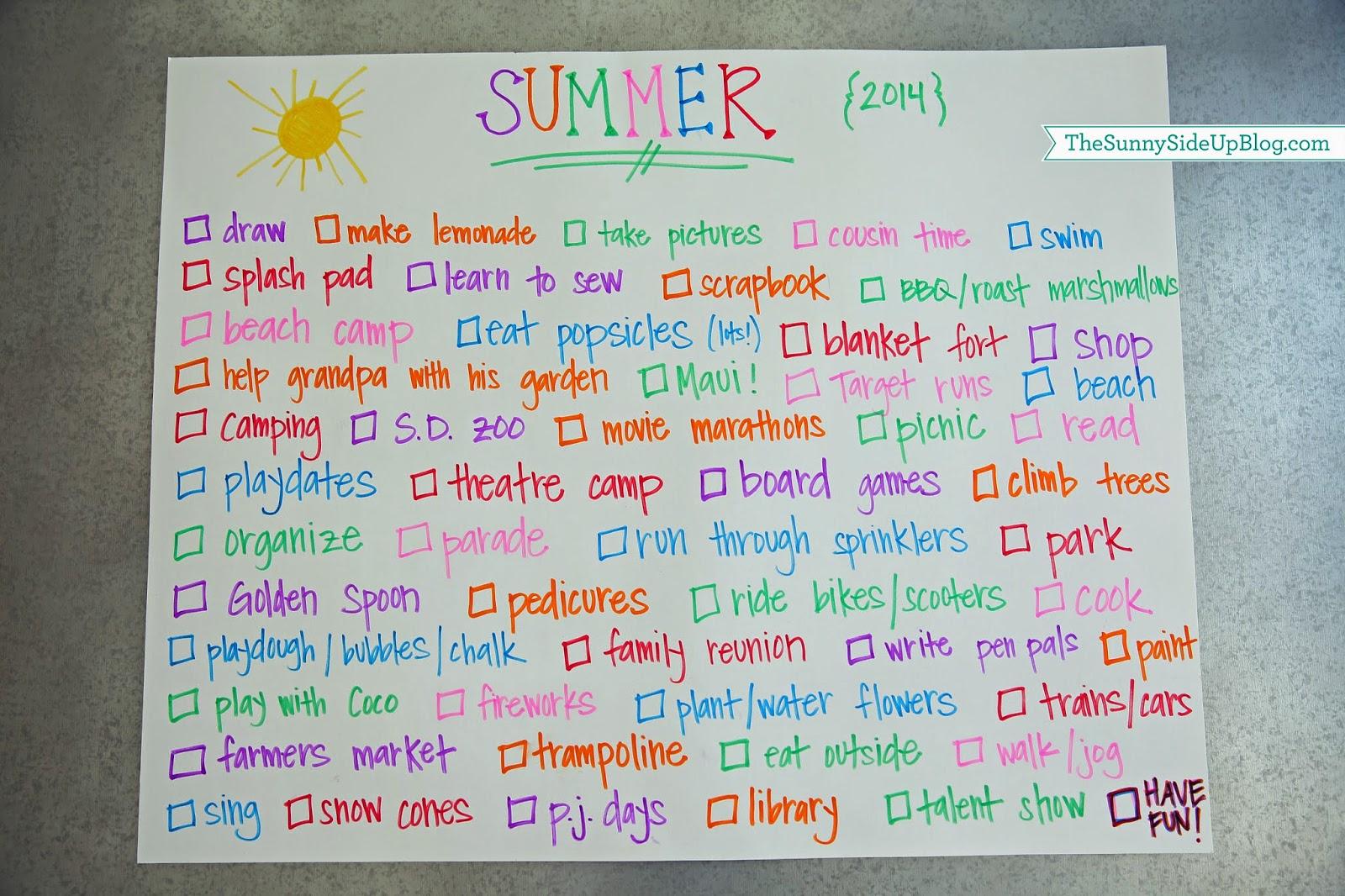 kids 39 summer fun list the sunny side up blog. Black Bedroom Furniture Sets. Home Design Ideas