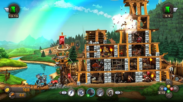medieval destruction of a castle in CastleStorm on Xbox Live Arcade, XBLA