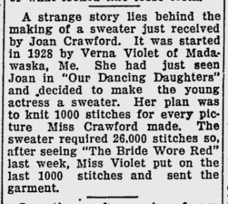 Newspaper feature Fan knits sweater for Joan Crawford 1937