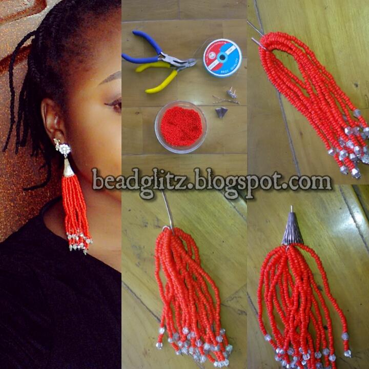 Beadglitz: TUTORIAL: Beaded Tassel earring
