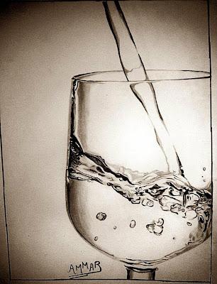 رسم كاس ماء بالرصاص