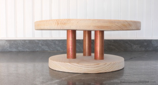 diy wood and copper pipe cake stand