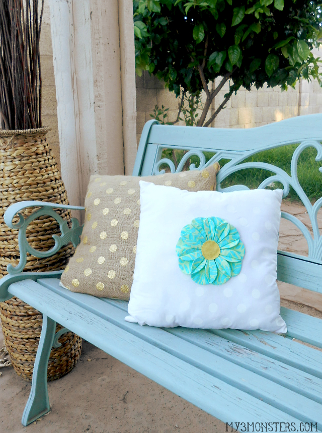 Springy Flower Pillow with Kanzashi-inspired folded fabric flower at my3monsters.com