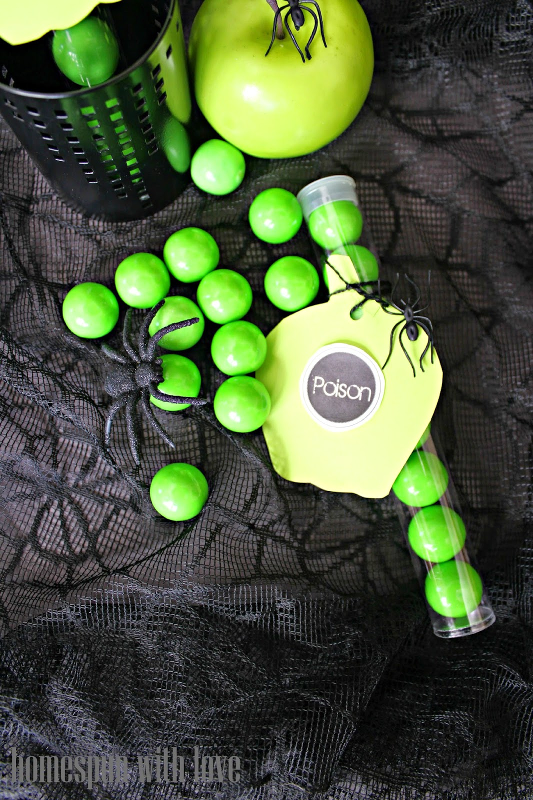 Homespun With Love: Spooky & Easy Poison Apple Favors