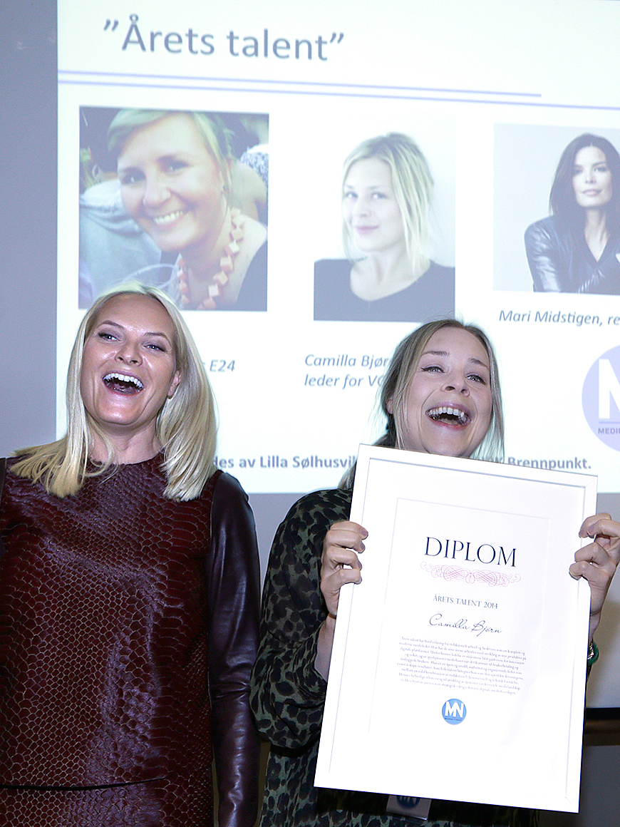 Crown Princess Mette-Marit today presented the award to the 2014 talent in the media industry to VG Camilla Bjørn under Media network's fall seminar at Holmen Fjord Hotel