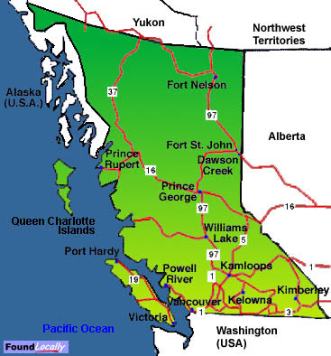 Map Of Canada Regional City In The Wolrd British Columbia