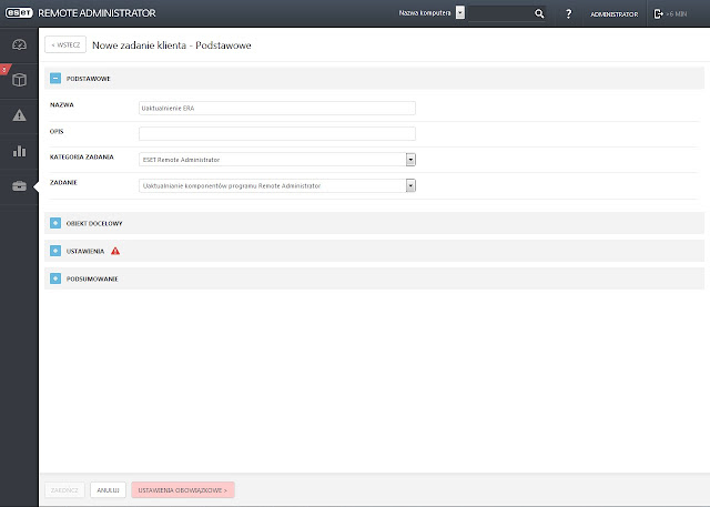 Parametry zadania aktualizacji komponentów