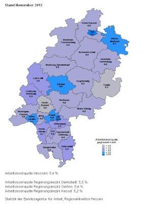 Trabajo y desempleo en la región de Hessen en Alemania