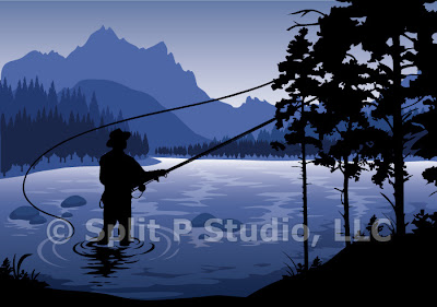 fly fishing vector art