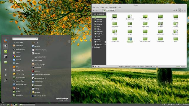 Área de Trabalho no Linux Mint