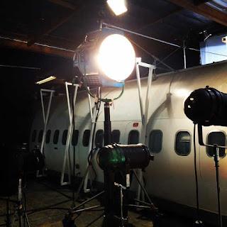 Stitchers BTS photo episode 2x08 airplane on set