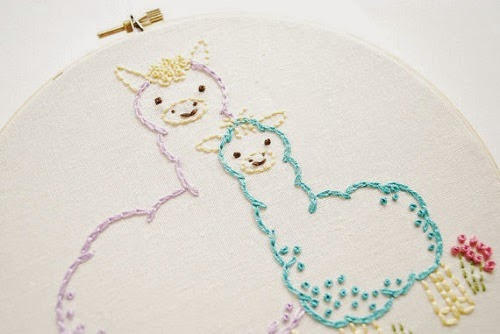 WildOlive alpacas embroidery pattern