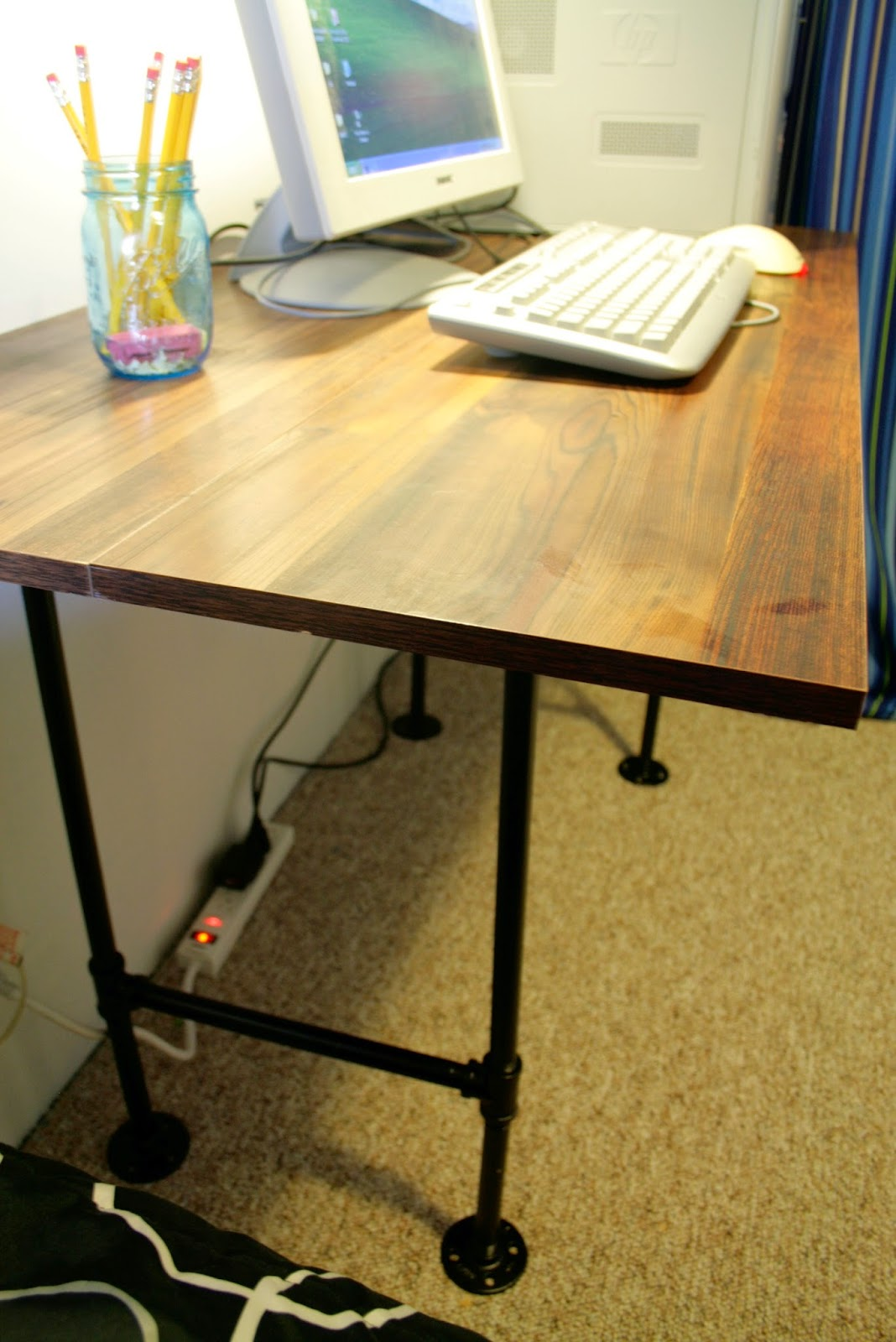 The dieter family industrial pipe desk diy for Diy industrial