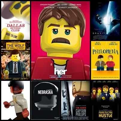 Carteles LEGO de las nominadas a los Oscar