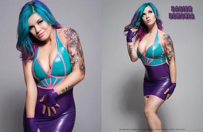 Sabien Demonia Purple latex Dress Posing