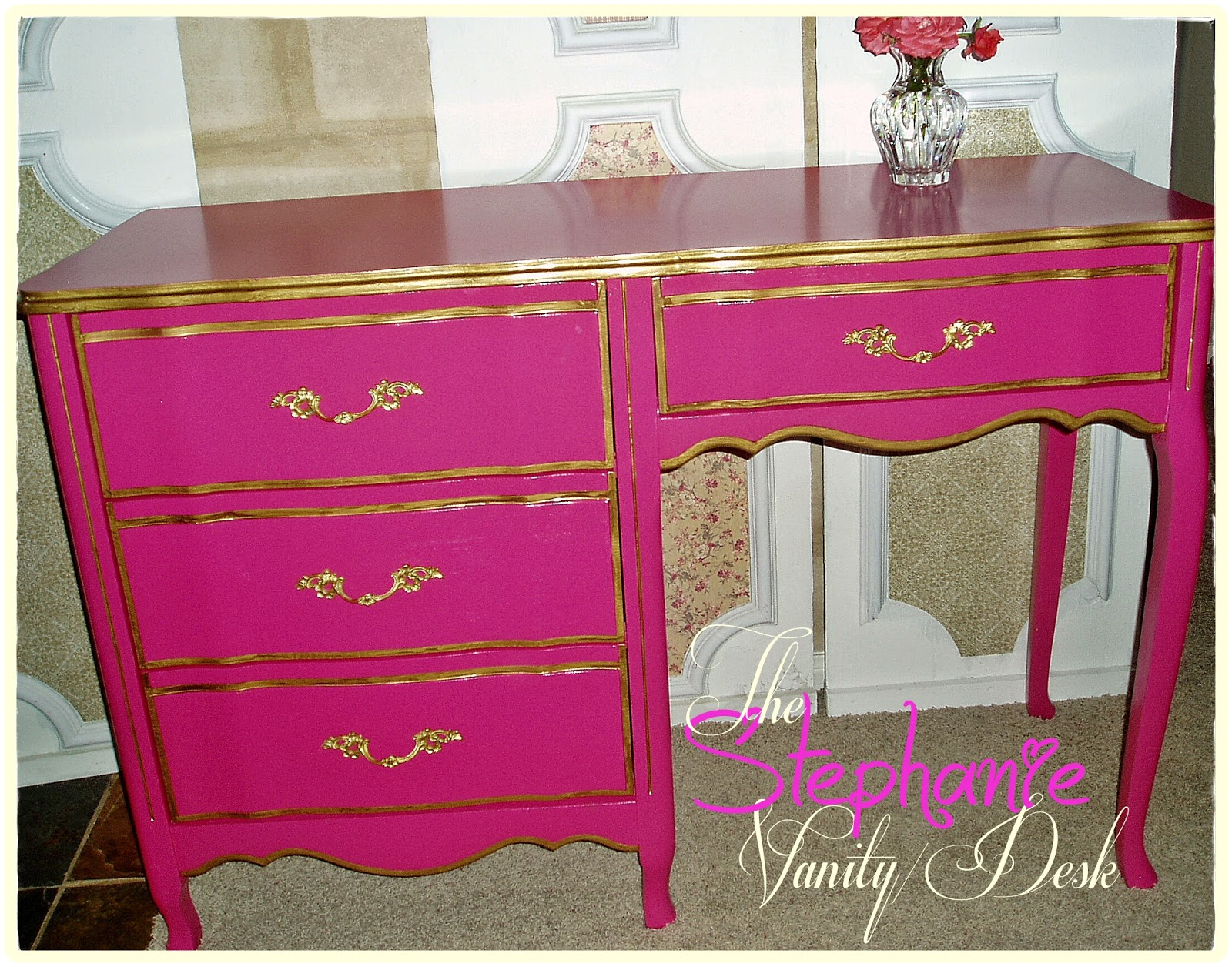 Fuchsia and gold Painted Furniture Ideas