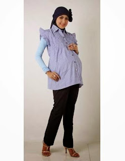 Model baju hamil muslim modis usia kandungan tua