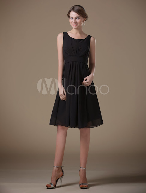China Wholesale Clothes - Concise Black Chiffon Tea Length Maternity Bridesmaid Dress