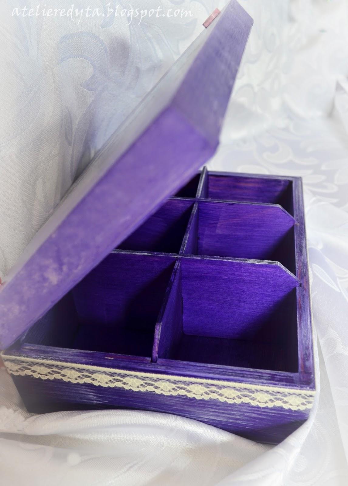 Fioletowe pudełko wykonane metodą decoupage dla dziewczynki