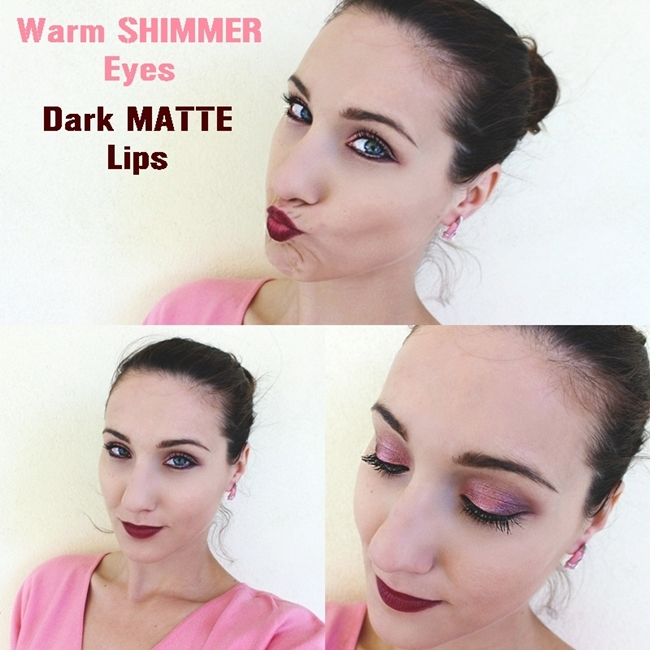 "Instagram @lelazivanovic.Makeup video tutorial ""Warm SHIMMER Eyes, Dark MATTE Lips"".Makeup tutorial by Jelena Zivanovic."