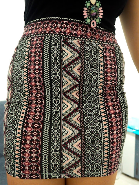 Candy Colours | outfit details, close up of pink geometric patterns on short, tight pencil skirt