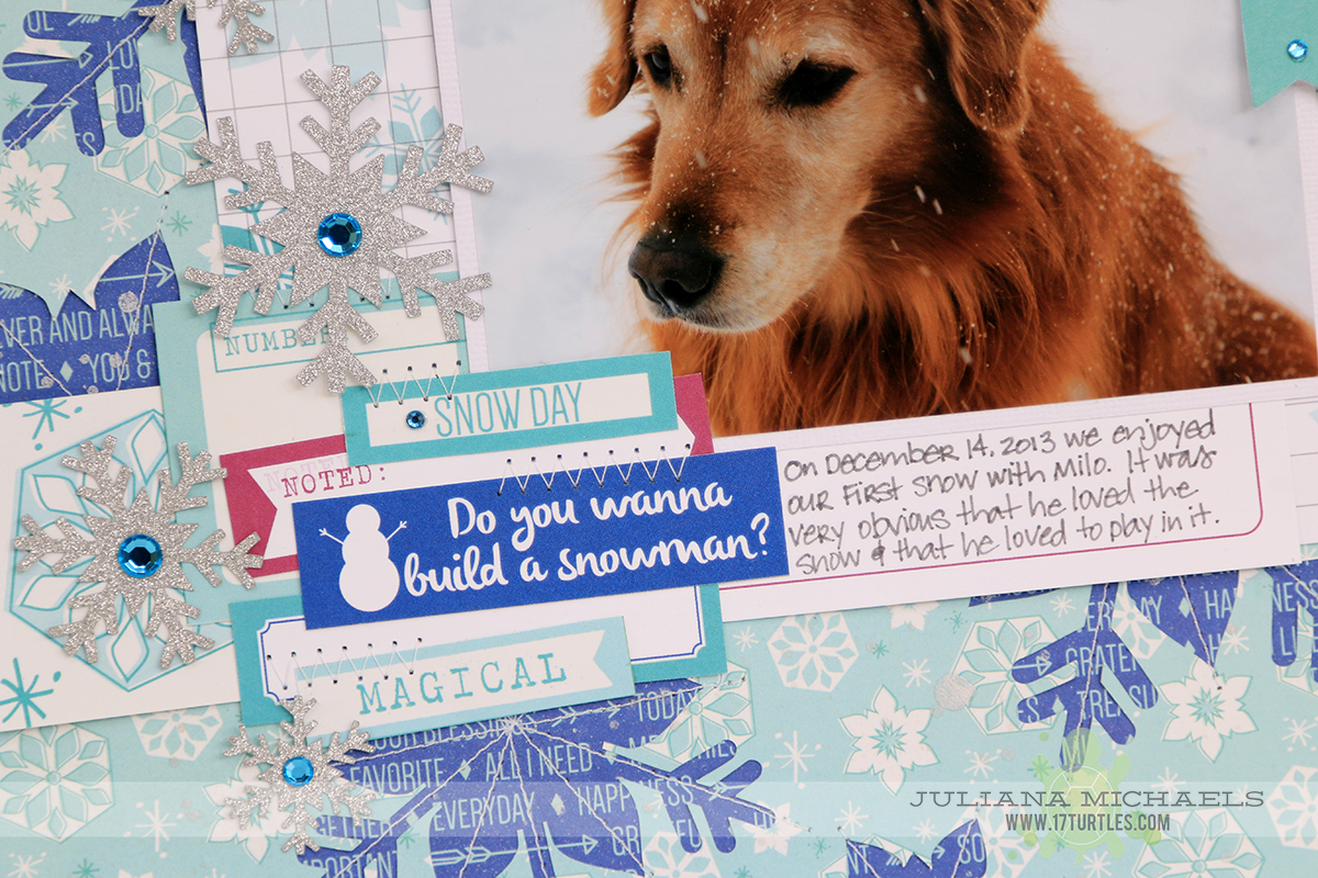 Snow Dog Scrapbook Page by Juliana Michaels featuring digital cut file by Elle's Studio